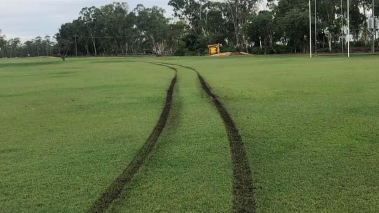 Damage to the Moranbah Bulldogs AFC field at the Eastern Sporting Reserve. Photo: Contributed