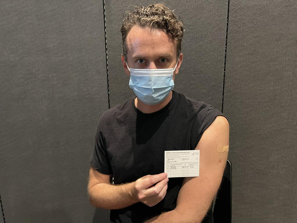 Expat Aussie Dr Tom Oxley was hesitant about the vaccine because he already beat COVID last year and has antibodies, but he elected to take the shot because he wanted to ensure he can travel internationally in the future.Picture: Supplied