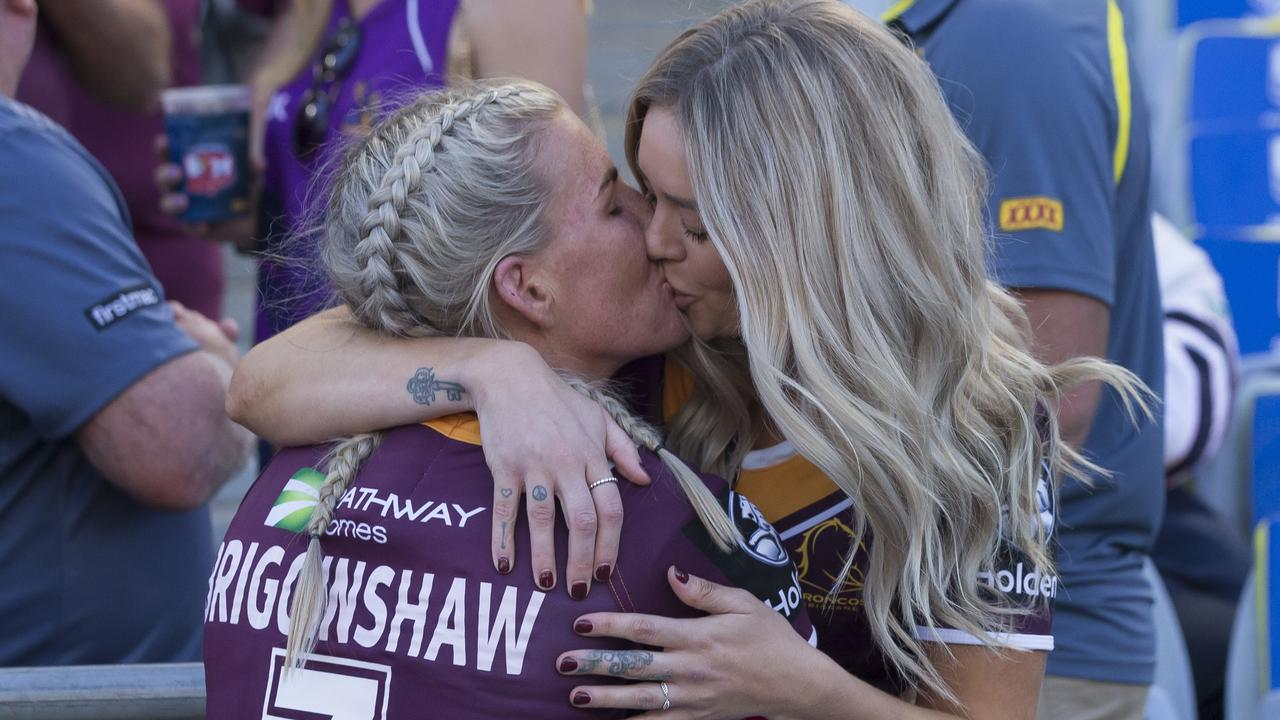 Ali Brigginshaw of the Broncos celebrates with partner Kate Daly after Brisbane won the 2018 NRLW grand final. Picture: AAP.