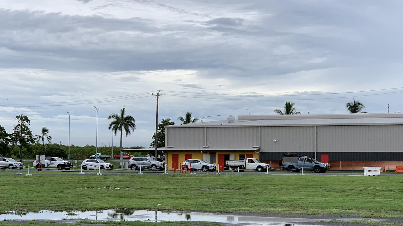 Cars were already lined up by 7.30am on Tuesday at the Mackay showgrounds for a COVID test at the drive through clinic.