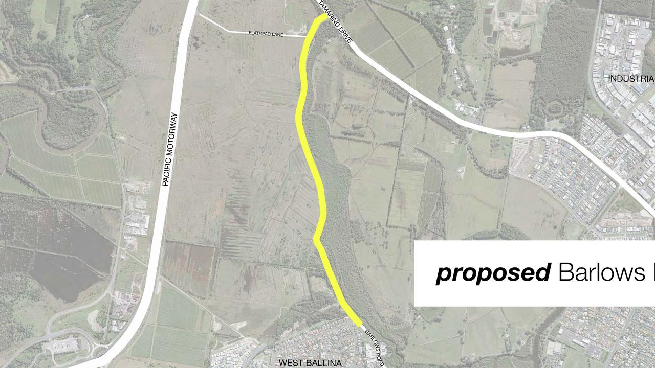 The proposed extension to Barlows Road in Ballina.
