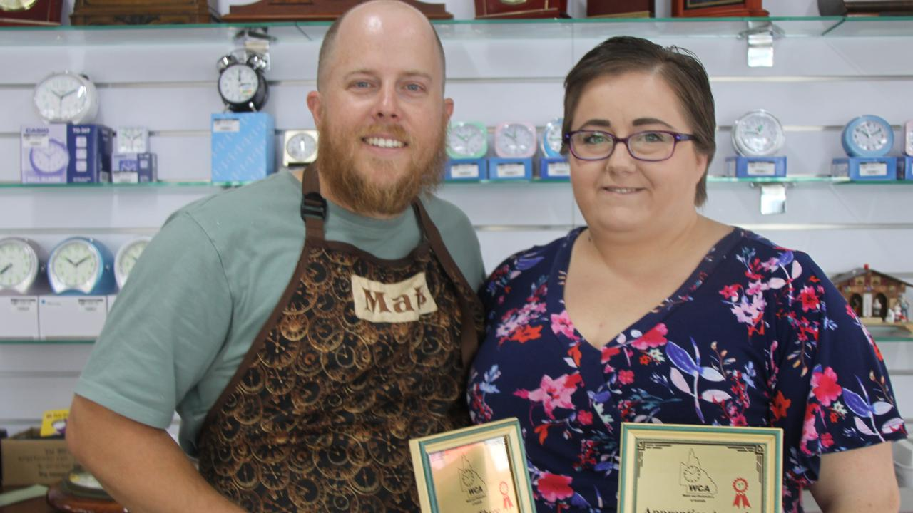 AWARDS: Some of the awards Matt Rankin won as an apprentice when he was undergoing his training at Lismore Timezone Watchmakers. Now with his wife Lisa, the are the proud owners of the renowned business in the heart of town. Photo: Alison Paterson