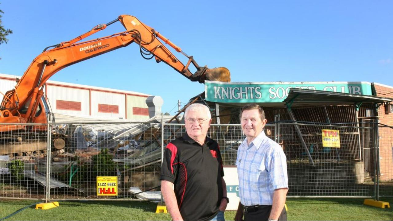 Ipswich Knights life members Robbie Hughes and Ross Hallett bid farewell to the former clubhouse in 2011. The old building had to be demolished after the floods.