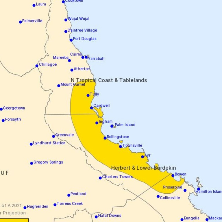 A severe weather warning for heavy rainfall was activated on Wednesday morning for people in parts of Herbert and Lower Burdekin and Central Coast and Whitsundays forecast districts. Picture: Bureau of Meteorology