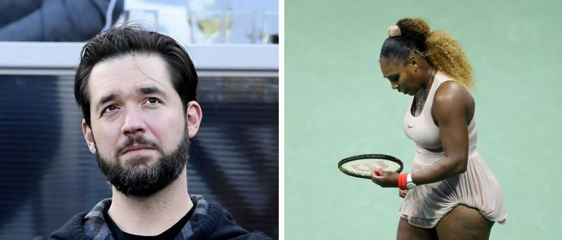 Outrageous comments by a tennis legend about Serena Williams' weight have drawn an angry response from her husband.