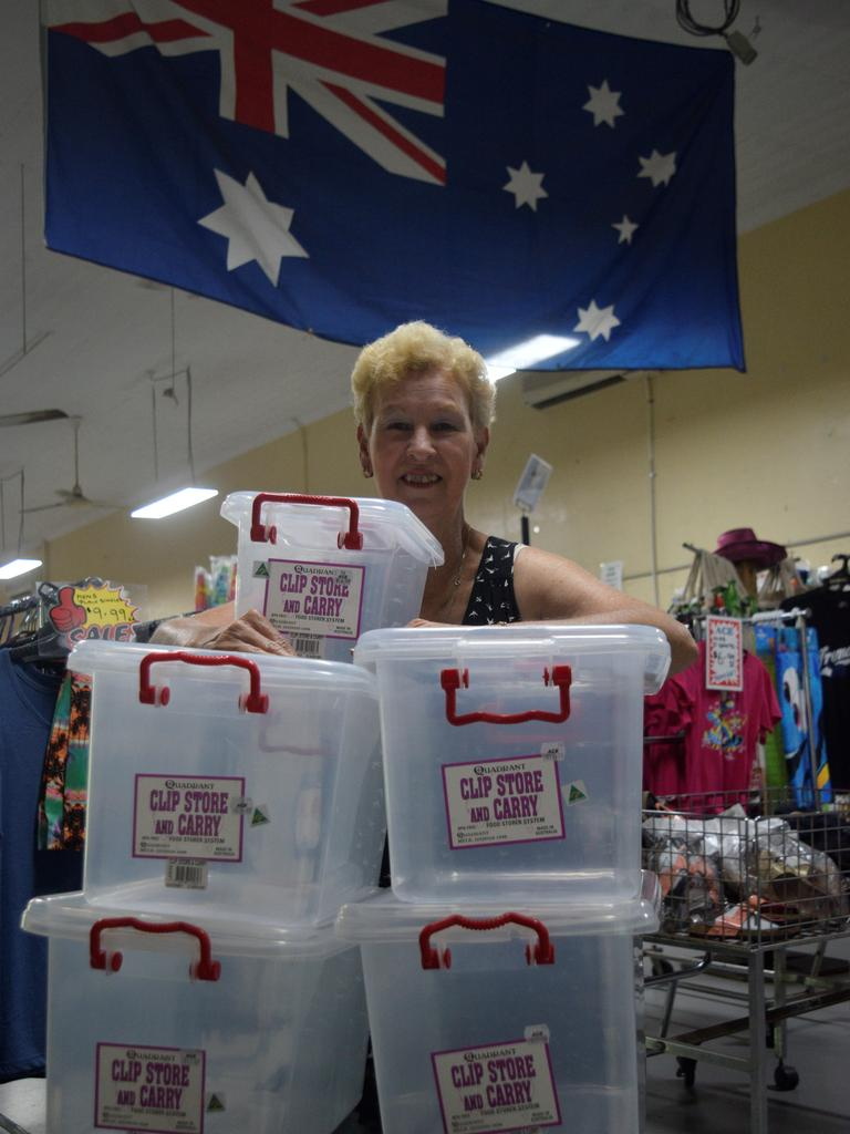 Ace Variety Discount owner Wendy Travers with some of the Australian-made plastic goods they now stock in their Maclean store.