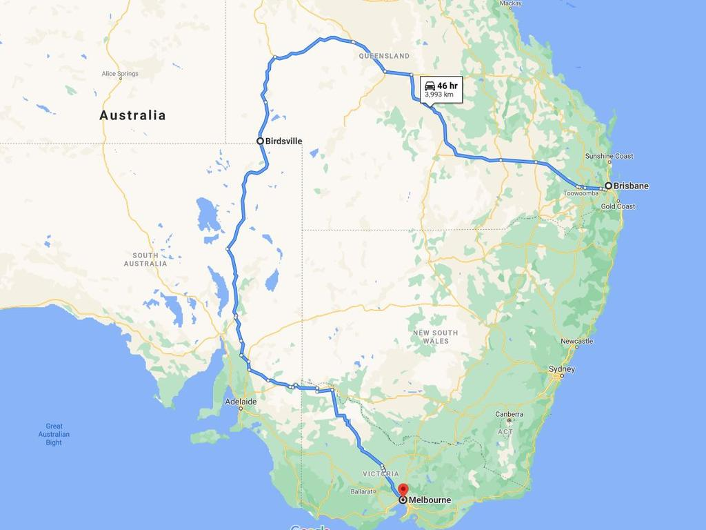Victorians desperate to get home without passing through New South Wales are heading through Outback Queensland and regional South Australia – a trip that takes at least 46 hours. Picture: Google Maps