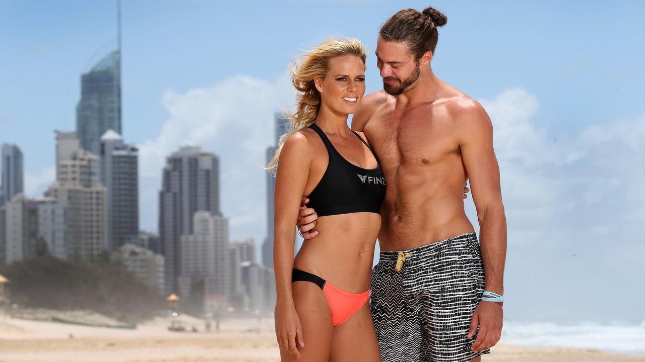 Surf lifesaving competitor Courtney Hancock and Nick Buchanan.