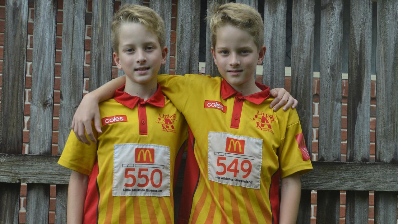 North Mackay Little Athletics members Aiden Porter and Noah Porter, both 10. Photo: Callum Dick