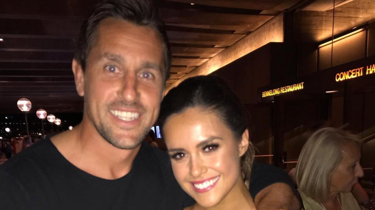 Newcastle Knights halfback Mitchell Pearce and fiancee Kristin Scott.