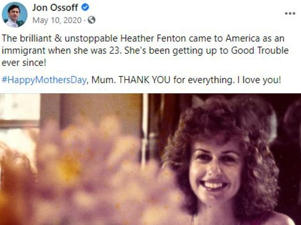 US senate candidate Jon Ossoff posted this Mother's Day message on Facebook to his Australian-born and raised mother Heather Fenton . Picture: Facebook