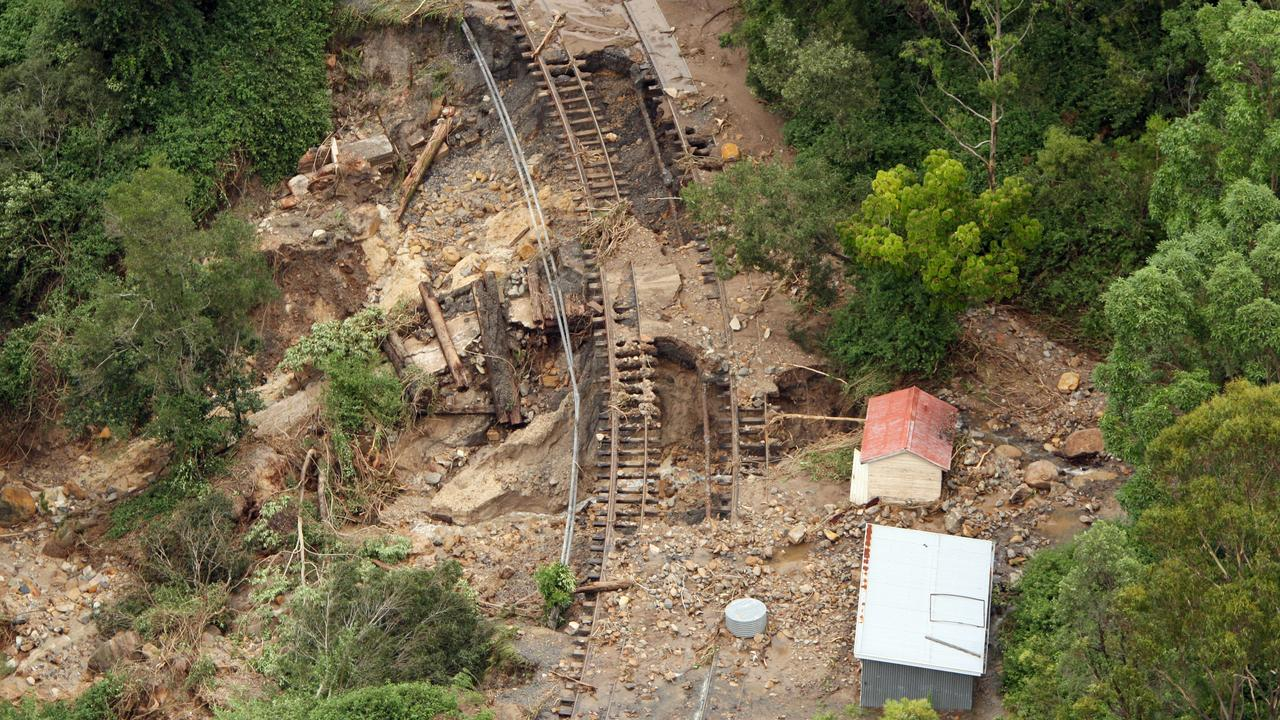 The ruined main railway line between Toowoomba and Brisbane after floodwaters swept through the area at Murphys Creek.
