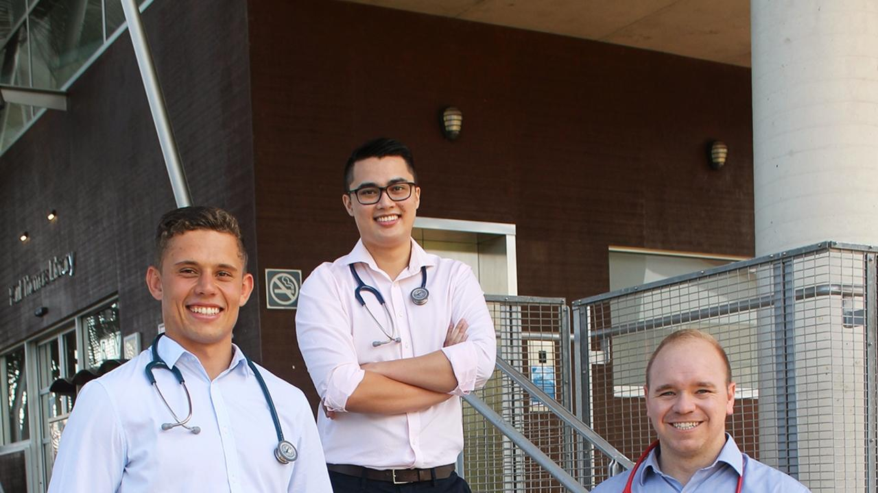 Theo Mostert, Rees Telford and Brad Lines - farewelling the USC campus at Sippy Downs.