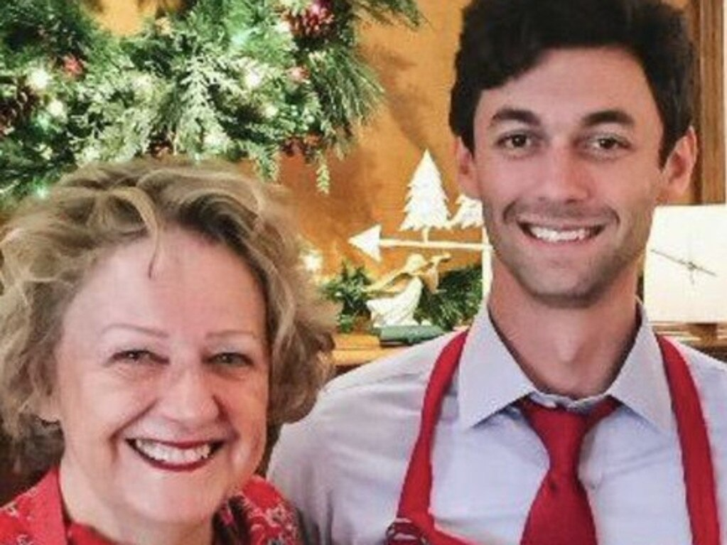 Jon Ossoff, pictured with his mum Heather Fenton. Picture: Twitter