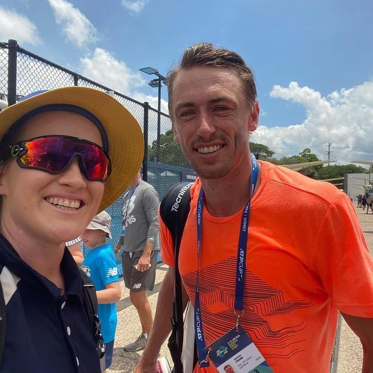 St John's teacher Meg Lyons and Australian tennis player John Millman.