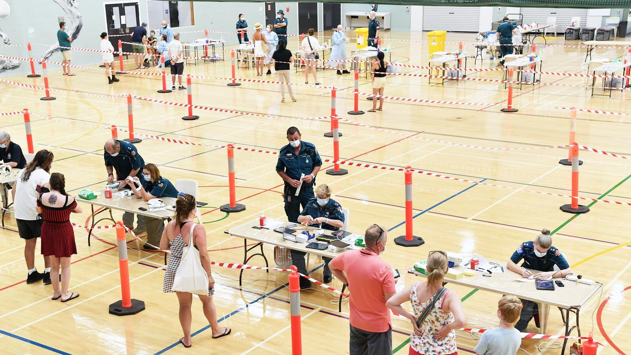 335 people have been tested since QAS set up a COVID-19 fever clinic at Noosa Leisure Centre, Noosaville. Picture: Patrick Woods.