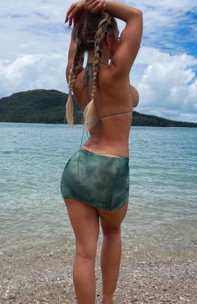 The influencer wore a bikini top and skirt by SkinKini. Picture: Instagram