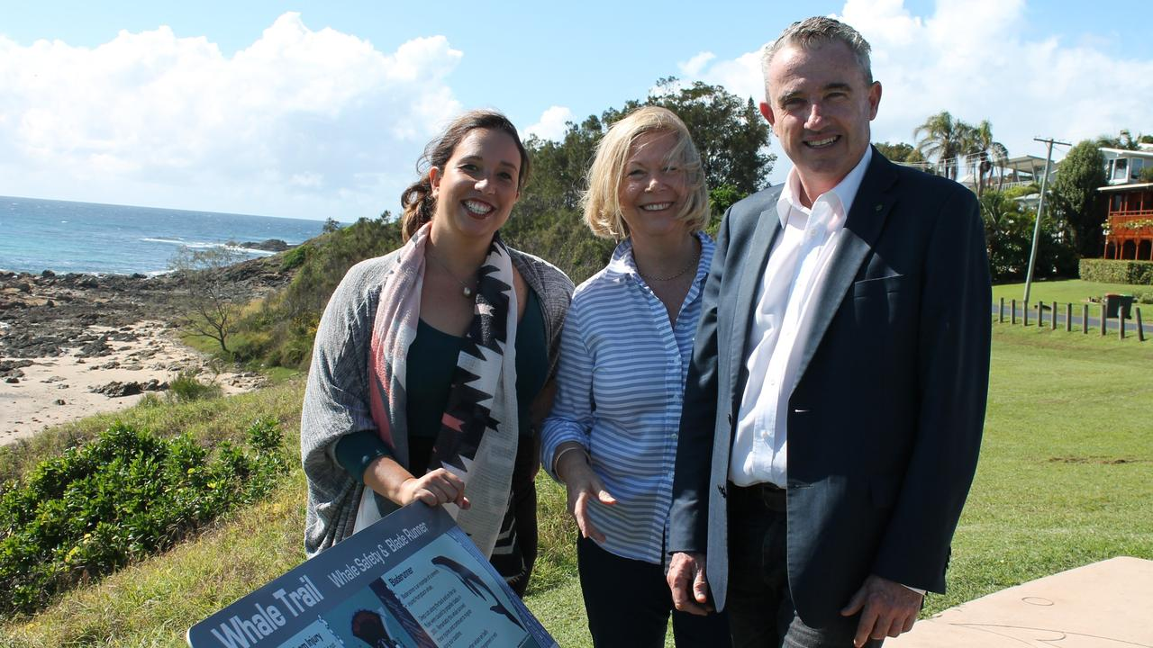 Crs Tegan Swan and Mayor Denise Knight and Kevin Hogan MP announced $1.1m grant for the Whale Trail in April 2019.