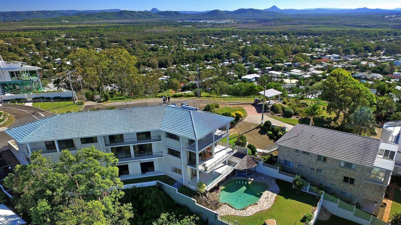 The massive seven bedroom Grandview Dr house in Coolum Beach with four living rooms for less than $3 million.