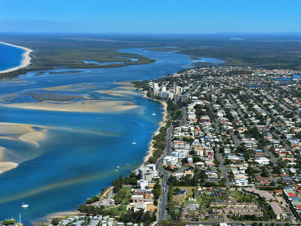 Aerial photography Sunshine Coast. Pumicestone passage. Golden Beach. Pelican Waters.