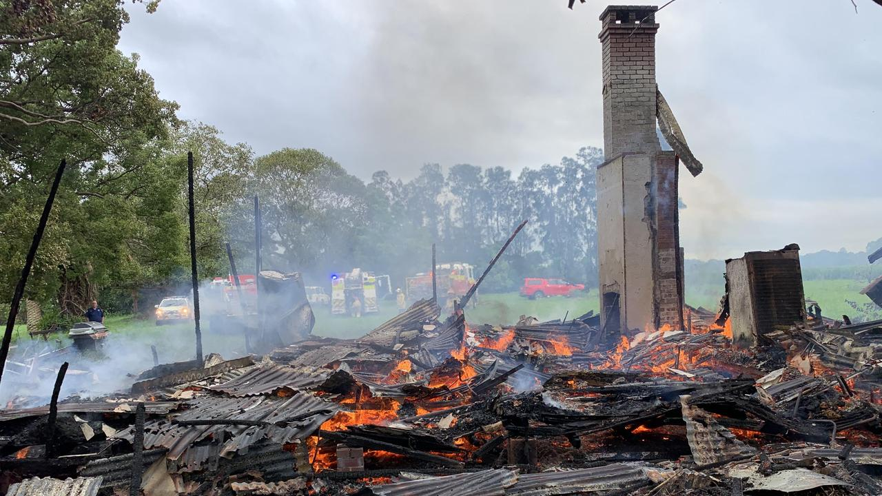HOUSE FIRE: Firefighters from the RFS and Fire & Rescue extinguished a fire which destroyed a single level weatherboard house in Pimlico south of Ballina on Thursday January 7, 2021.