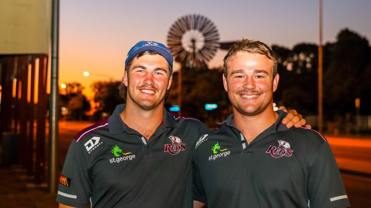 Queensland Reds players Liam Wright (left) and Harry Wilson visiting Barcaldine on the Reds to Regions tour. Photo: Tom Mitchell, QRU
