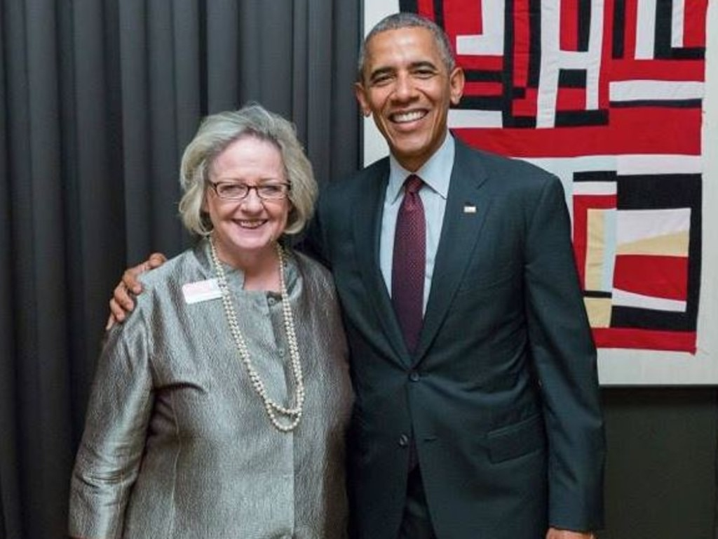 Heather Fenton, Aussie-born and raised mum of Democratic senate hopeful Jon Ossoff, with former President Barack Obama. Picture: Facebook