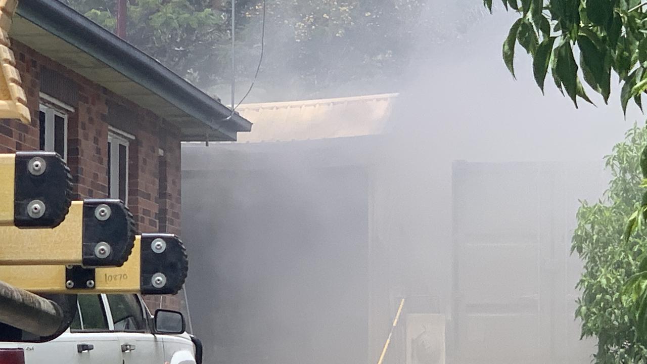 Emergency crews at the scene of a fire in Beak Street, Koongal on January 7, 2021.