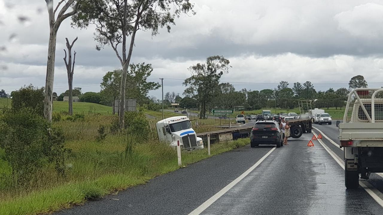 A truck ran off the Bruce Highway south of Maryborough sometime after lunch today, according to witnesses. Picture: Jakee-Dee Broad/Facebook