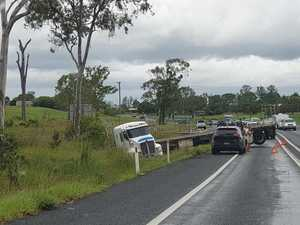 Truck jackknifes across Bruce Hwy, causes traffic mayhem