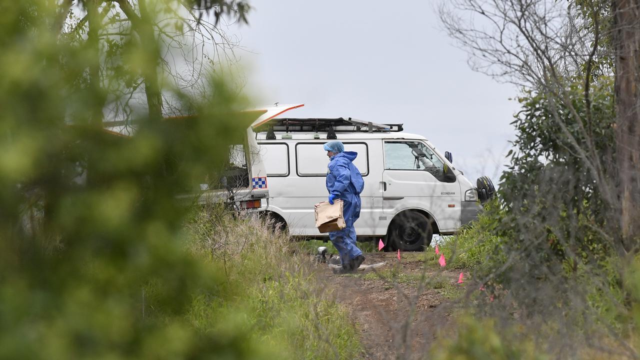 Police investigate a suspicious death of Blake James Riley in bushland near Preston, Thursday, January 7, 2021. Picture: Kevin Farmer