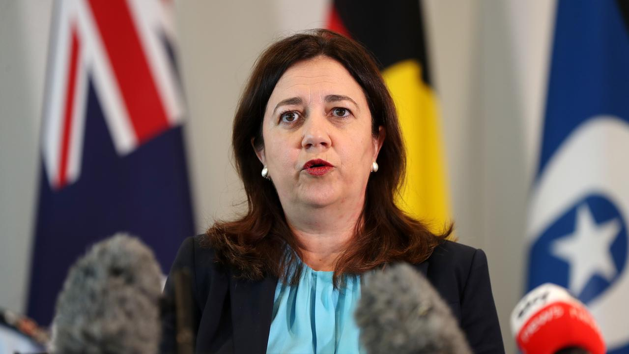 Premier Annastacia Palaszczuk speaking at a press conference at 1 William Street. Pics Tara Croser.