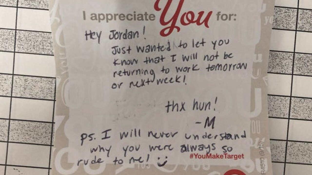 The Target employee uploaded her resignation note for other social media users to see. Picture: Reddit