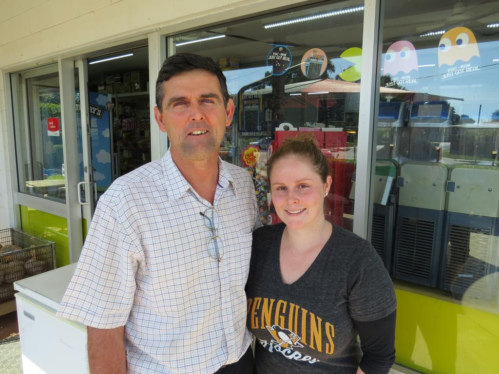 Chris with his daughter Rebecca Vella from Vella's Foodstore in Ooralea.