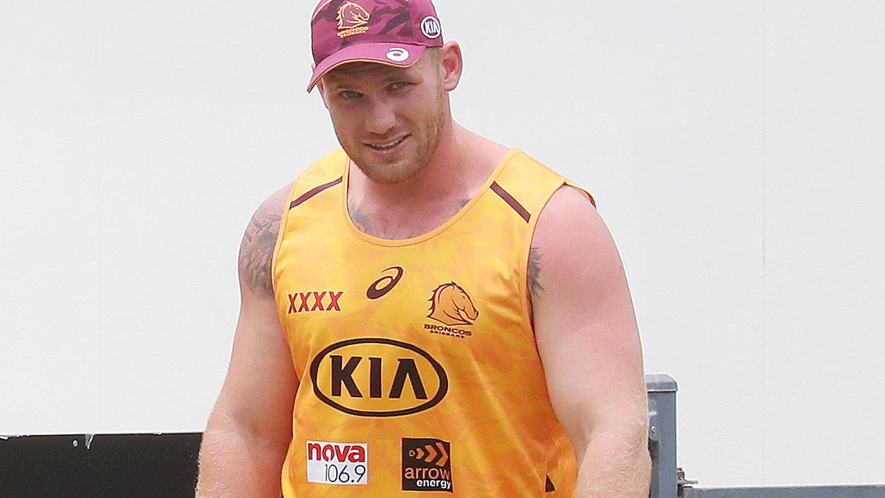 Matt Lodge is staying put at the Broncos — for now. Picture: Annette Dew