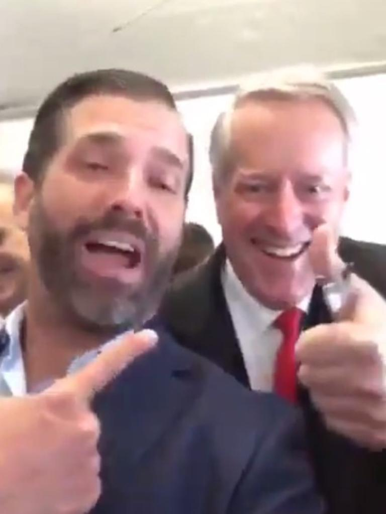 Don Jr's gleeful selfie with chief-of-staff Mark Meadows. Picture: Twitter