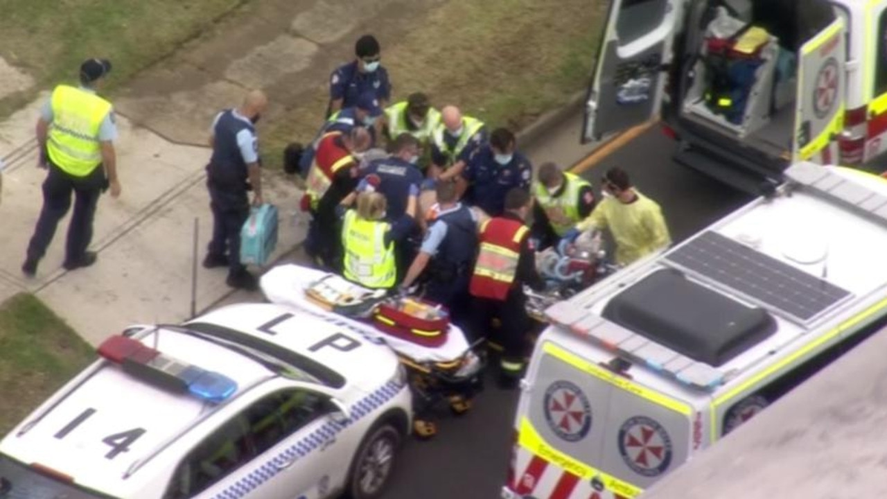 The scene in Casula on Thursday. Picture: 7News