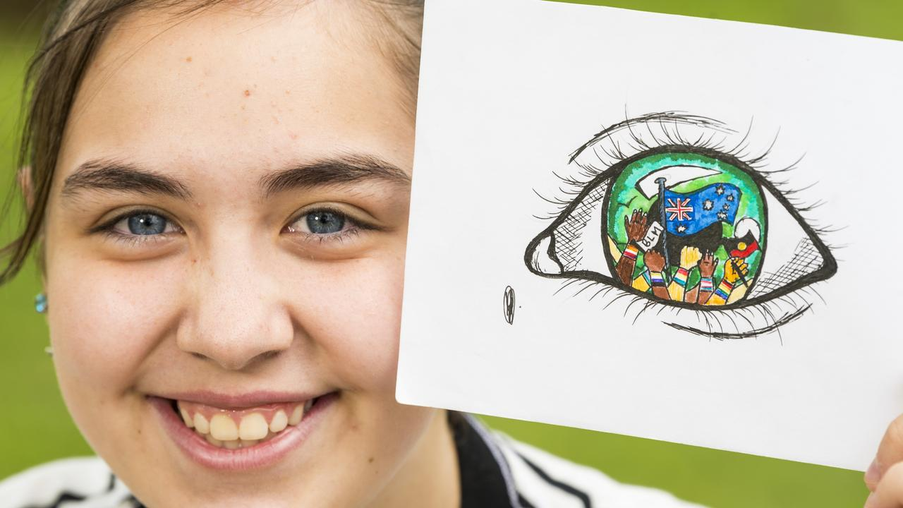 Oakey State High School student Jazmin Johnson, 13, was named one of ten finalists in the Queensland Family and Child Commission's Amplify Through My Eyes art prize. Picture: Kevin Farmer