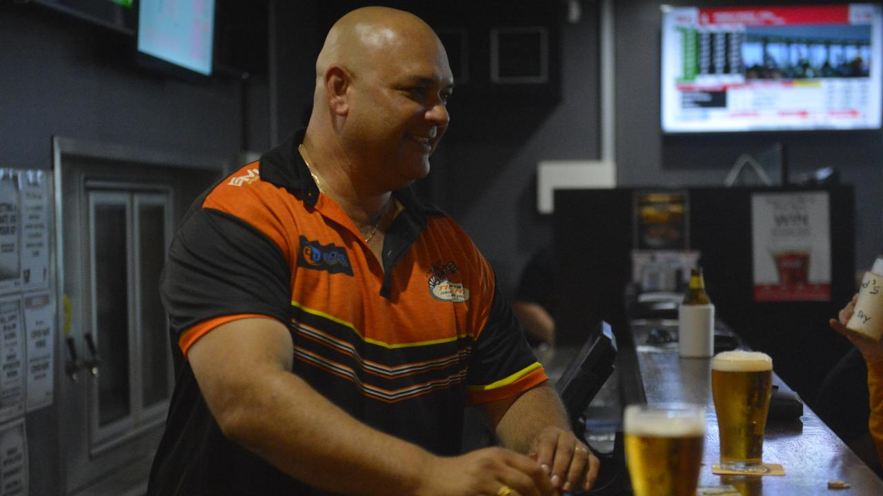 Western Suburbs Leagues Club general manager Kingsley Theiber was back to smiling as he greeted patrons at the bar on Saturday, following the ram raid on Wednesday morning that caused significant damage to the club. Photo: Callum Dick