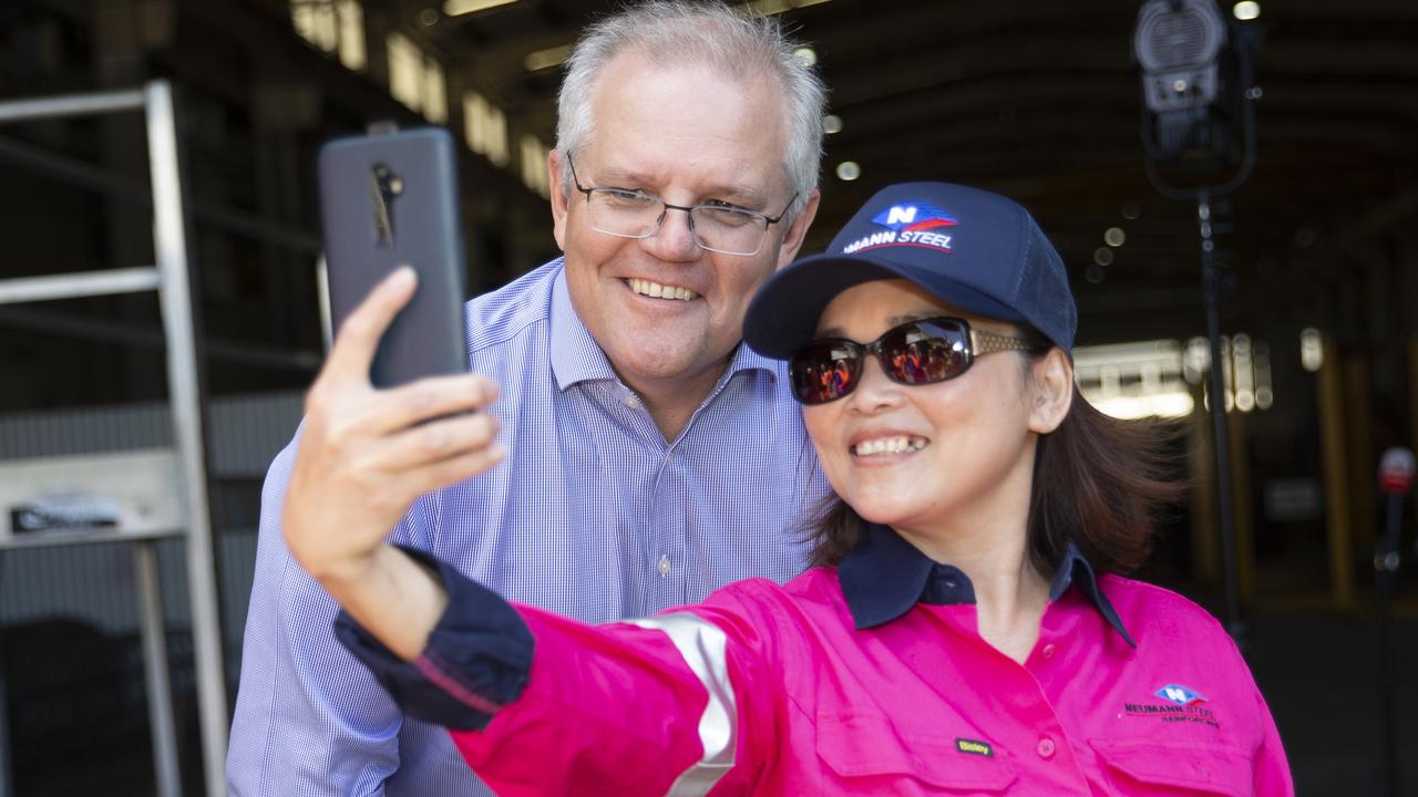 Prime Minister Scott Morrison gets a selfie with a worker from Neumann Steel on the Gold Coast late last year. Picture: NCA NewsWire/Sarah Marshall