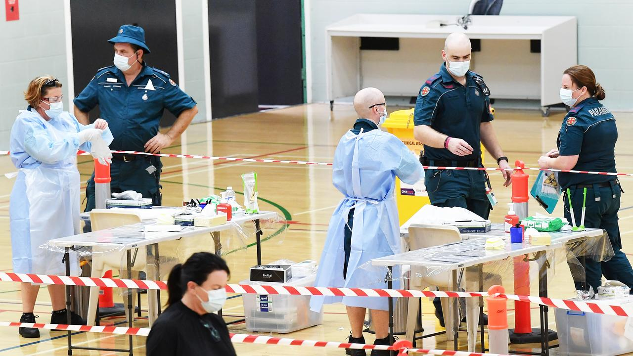 QAS has set up a fever clinic for people to get tested for COVID-19, Noosa Leisure Centre, Noosaville. Picture: Patrick Woods.