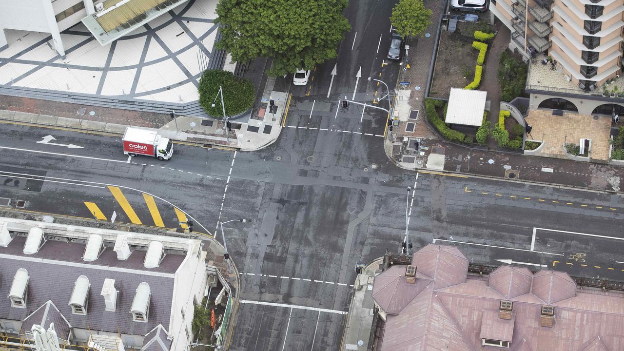 Empty Streets of Brisbane, Margaret St, George St intersection, Brisbane City, Brisbane, 9th of January 2021. Picture: Attila Csaszar.