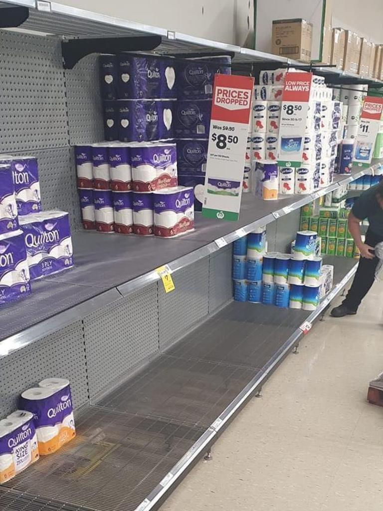 SOCIAL MEDIA IMAGE DISCUSS USE WITH YOUR EDITOR – Shelves at Gladstone supermarkets have been left
