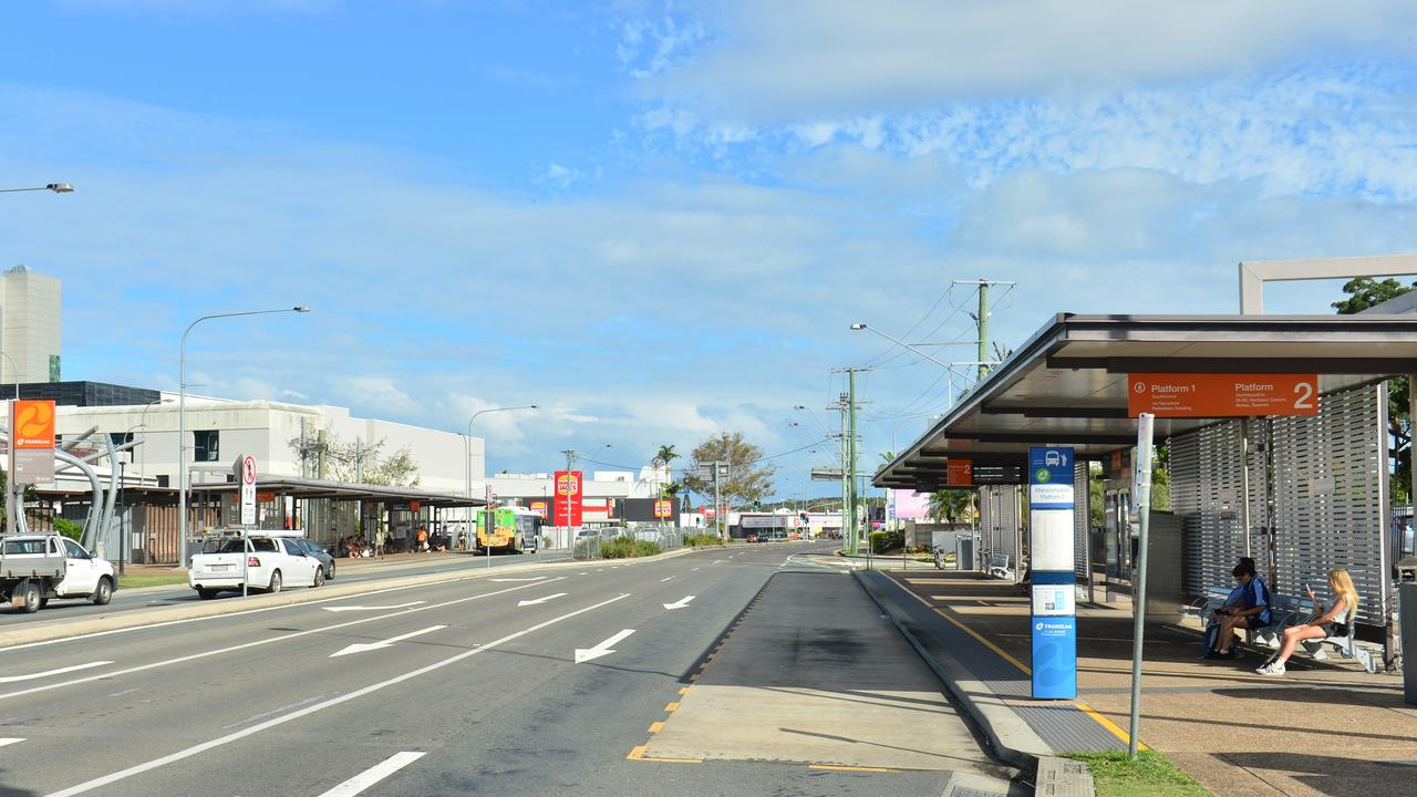 Maroochydore bus stop near the Plaza.