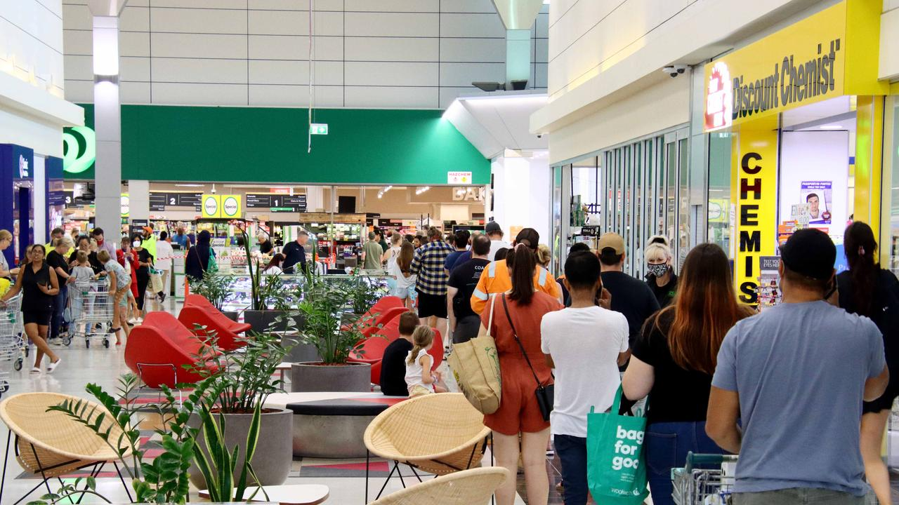 Panic buying of groceries at Skygate Woolworths on Friday, January 8. Picture David Clark
