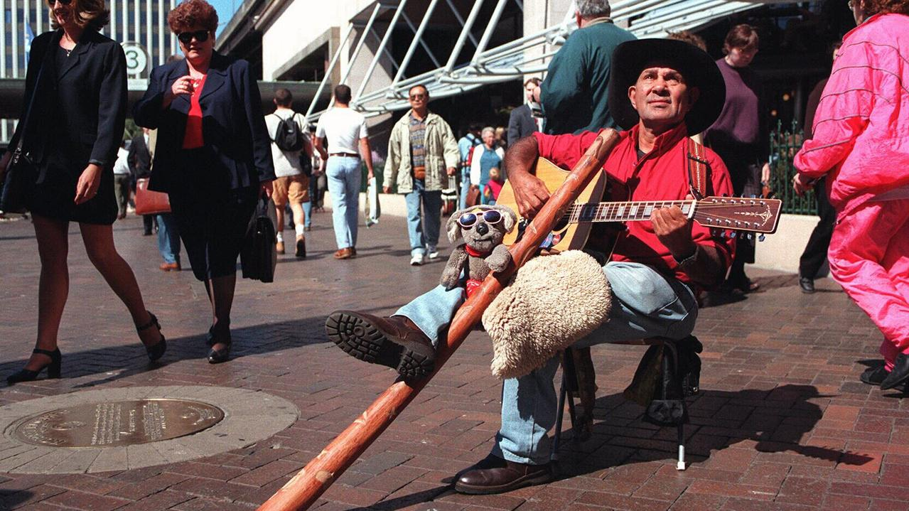 Johnny Marshall busking at Circular Quay in 1996.