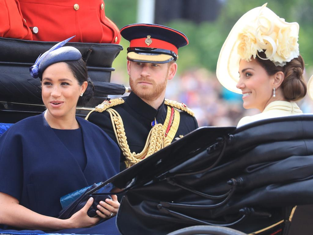 The Duke and Duchess of Sussex with the Duchess of Cambridge ahead of the Trooping the Colour on June 8, 2019. Picture: Gareth Fuller/PA Wire