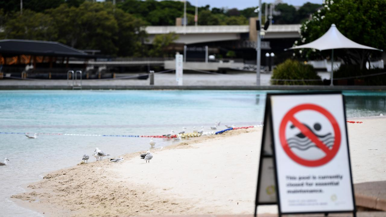 An empty Southbank beach during the second day of COVID-19 lockdown in Brisbane. Picture: NCA NewsWire / Dan Peled