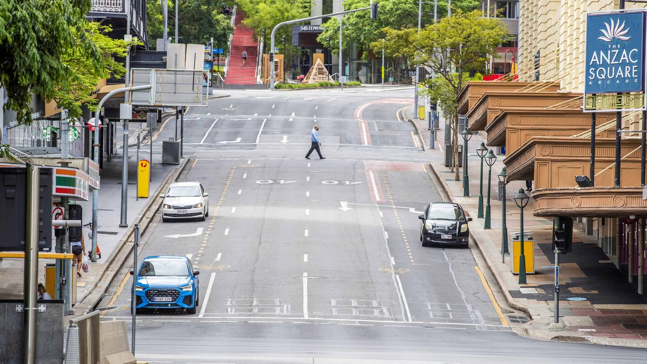 Empty Edward Street during three day COVID-19 lockdown of Brisbane, Sunday, January 10, 2021 - Picture: Richard Walker