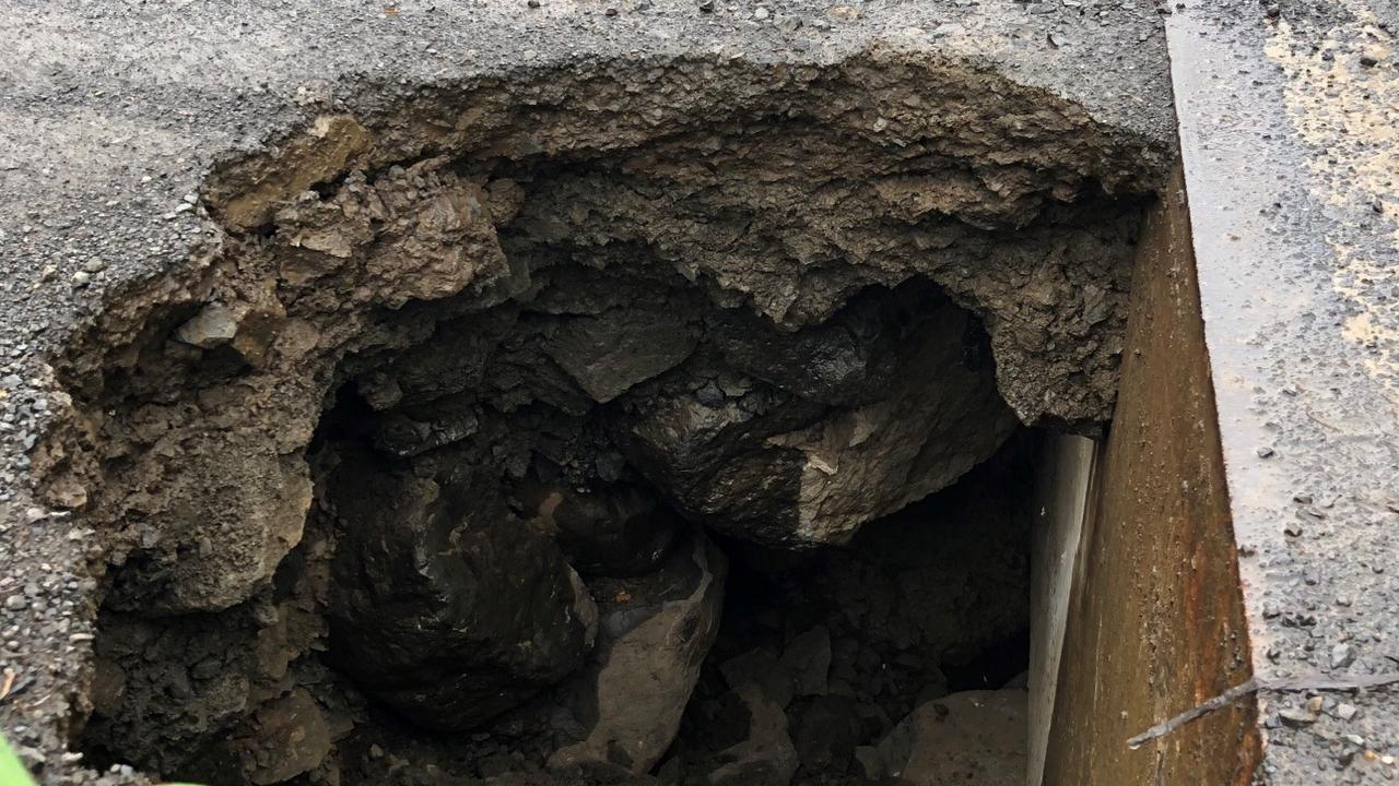 A road at Leeville has been closed due to a 2m sinkhole developing after recent heavy rain.